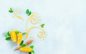 Обои листья, узор, лимон, еда, натюрморт, мёд, цитрусы