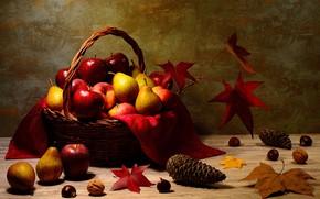 Картинка осень, листья, стол, корзина, яблоки, фрукты, шишки, груши, грецкий орех, жёлуди