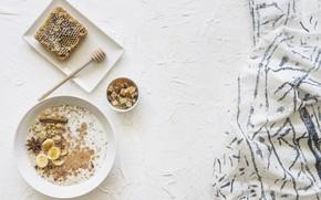 Картинка завтрак, мёд, корица, банан, йогурт, анис, гранола