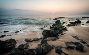 Картинка море, пляж, солнце, камни, океан, берег