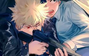 Картинка оружие, парни, двое, My Hero Academia, Boku No Hero Academia, Мидория Изуку, Моя Геройская Академия, …