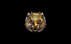 Картинка Fantasy, Art, Tiger, Vector, Background, Illustration, Minimalism, Robotic, Angga Tantama, Digitalized Tiger