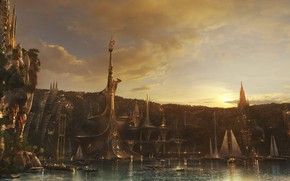 Картинка город, фантастика, Armando Savoia, кораби, umakala chi city bay