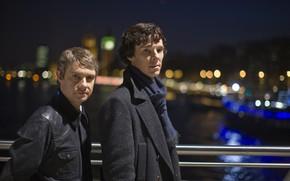 Картинка мост, огни, блики, Шерлок Холмс, Мартин Фримен, Бенедикт Камбербэтч, Benedict Cumberbatch, Sherlock, Шерлок, Sherlock BBC, …