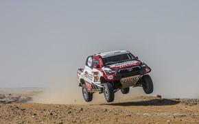 Картинка пустыня, пыль, Toyota, пикап, Hilux, в прыжке, 2020, Rally Dakar, 2021, Gazoo Racing