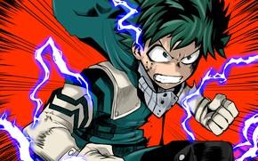 Картинка герой, My Hero Academia, Boku No Hero Academia, Мидория Изуку, Midoriya Izuku, Моя Геройская Академия