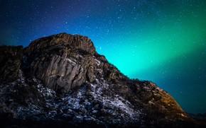 Картинка пейзаж, ночь, природа, гора, звёзды, северное сияние