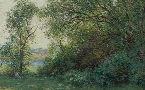 Картинка пейзаж, картина, 1907, Уиллард Меткалф, Willard Leroy Metcalf, The Bower