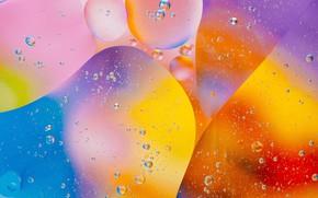 Картинка вода, пузырьки, краски, масло, воздух