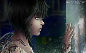 Картинка девушка, рука, киборг, Ghost In The Shell, проводки