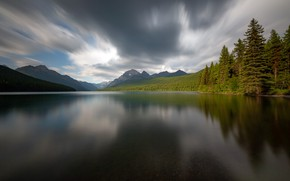 Картинка Glacier National Park, Bowman Lake, Long exposure