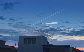 Картинка небо, облака, дома