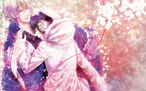 Картинка цветы, весна, парни, Durarara, Дюрарара, Шизуо Хейваджима, Изая Орихара