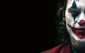 Картинка лицо, Джокер, черный фон, Joker, грим, Joaquin Phoenix, Хоакин Феникс