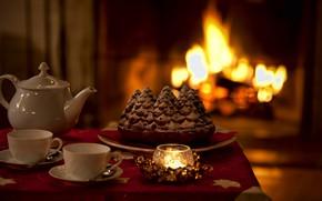Картинка тепло, чай, свеча, чайник, пирог, чашки, камин