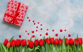 Картинка любовь, подарки, сердечки, тюльпаны, red, love, romantic, hearts, tulips, valentine's day, День Валентина, gift box