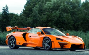 Картинка оранжевый, McLaren, гиперкар, Senna, MSO, 2020, Senna LM