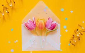 Картинка праздник, яйца, пасха, лента, тюльпаны, конверт