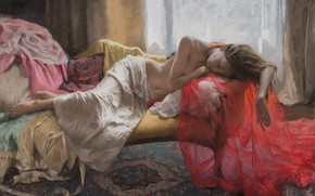 Картинка girl, dress, art, barefoot, painting, artist, blonde, belly, sleeping, couch, tummy, feet, navel, boudoir, Vicente …