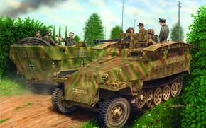 Картинка Бронетранспортер, Вермахт, Sd. Kfz. 251, Sd.Kfz.251/7 Ausf.D