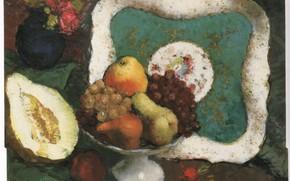 Картинка цветы, яблоки, виноград, ваза, груши, редиска, кабачок, ISSUPOFF, ELEGANT STILL LIFE