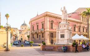 Картинка город, дома, площадь, Италия, Сардиния, Oristano, Sardaigne, Ористано
