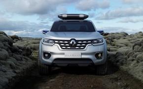 Картинка серебристый, Renault, пикап, передок, грунтовка, 2015, Alaskan Concept
