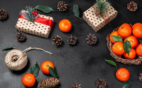 Картинка Новый Год, Рождество, подарки, шишки, мандарины
