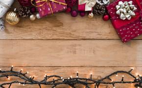 Картинка украшения, Новый Год, Рождество, подарки, гирлянда, Christmas, wood, New Year, decoration, Merry