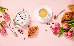 Картинка цветы, розовый фон, pink, flowers, tulips, coffee cup, purple, круассаны, croissant, чашка кофе, floral
