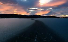 Картинка дорога, море, закат, берег