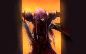 Картинка монстр, нож, ужас, безумие, Mirai Nikki, Дневник будущего, горящий глаз, брызги крови, Yuno Gasai, одержимая, …