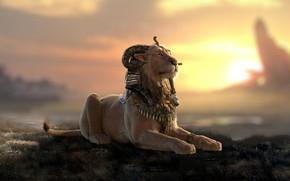 Картинка хищник, арт, львица, Nicolas MOREL, Criosphynx - Lookdev