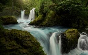 Картинка вода, водопад, поток