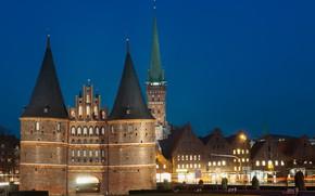 Картинка огни, ворота, Германия, Любек
