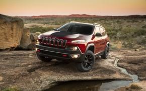 Картинка Закат, Красный, Горы, внедорожник, Джип, автомобиль, Jeep, Cherokee, Jeep Cherokee