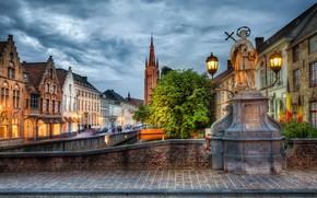 Картинка улица, HDR, дома, фонари, Бельгия, мостовая, Belgium, Bruges