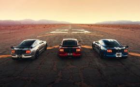 Картинка дорога, небо, асфальт, полоски, горы, машины, стиль, разметка, купе, спойлер, старт, Ford Mustang Shelby GT500