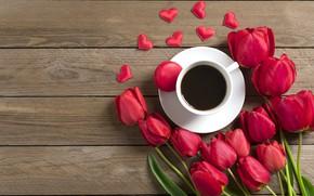 Картинка цветы, кофе, букет, утро