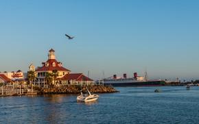 Картинка фото, Природа, Корабль, Залив, Калифорния, США, Побережье, Long Beach, Причалы, Rainbow Harbor Marina
