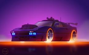 Картинка рисунок, Будущее, Машина, Ferrari, Арт, Concept Car, Illustration, Cyberpunk, Transport & Vehicles, Mike Patrick, by …