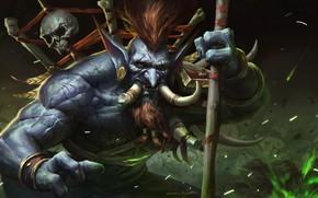 Картинка Рисунок, Клыки, WOW, Blizzard, Art, WarCraft, Illustration, Concept Art, Тролль, Troll, Vol'jin, Game Art, World …