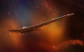 Картинка Звезды, Космос, Туманность, Звезда, Корабль, Star, Арт, Stars, Space, Art, Космический Корабль, Фантастика, Nebula, Транспорт, …