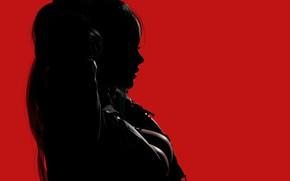 Картинка девушка, рендеринг, силуэт, профиль, красный фон, 3 D
