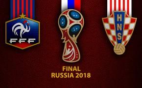 Картинка wallpaper, sport, logo, football, Final, FIFA World Cup, Russia 2018, France vs Croatia
