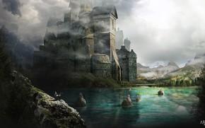 Картинка горы, замок, водоём, Illustration for a book of Fantasia, Occidenth