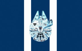 Картинка Минимализм, Star Wars, Арт, Звездные Войны, Вид сверху, Фантастика, Космический корабль, GrahamTG, Spaceship, Minimalism, Millennium …