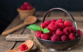 Картинка ягоды, малина, стол, wood