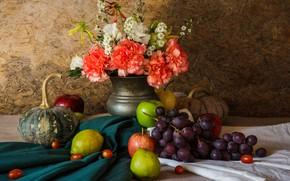 Картинка цветы, яблоки, букет, виноград, фрукты, натюрморт, груши, flowers, autumn, fruit, grapes, still life