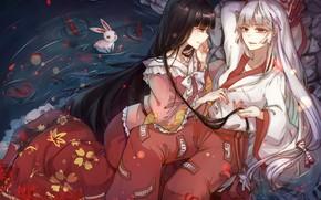 Картинка рыбы, цветы, озеро, девушки, аниме, кролик, арт, Touhou, Тохо, Тоухоу